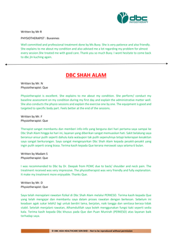 Testimonies from DBC patients 2020-38