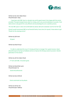 Testimonies from DBC patients 2020-03