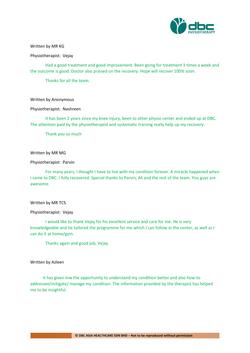 Testimonies from DBC patients 2020-09