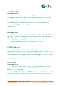 Testimonies from DBC patients 2020-07