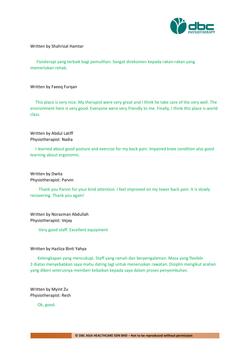 Testimonies from DBC patients 2020-02