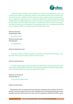 Testimonies from DBC patients 2020-04