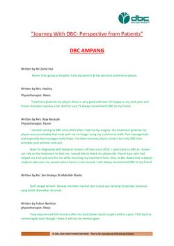 Testimonies from DBC patients 2020-01