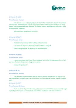 Testimonies from DBC patients 2020-21