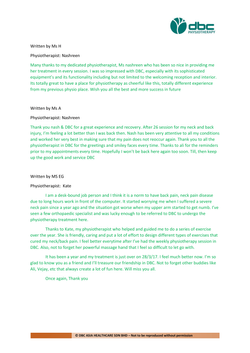 Testimonies from DBC patients 2020-18