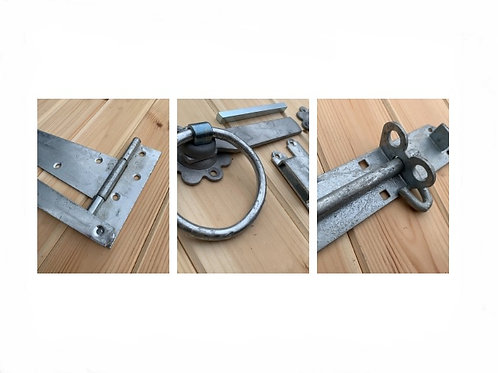 Galvanised Gate Set of Tee Hinges, Pad-bolts and Ring Latch