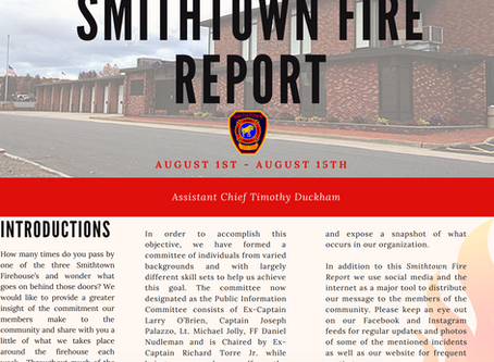 Smithtown Fire Report - August 1 - 15, 2019