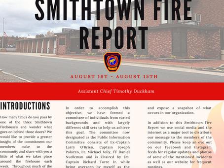 Smithtown Fire Report - August 1 - 15, 2019