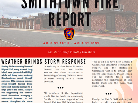 Smithtown Fire Report - August 16 - 31, 2019