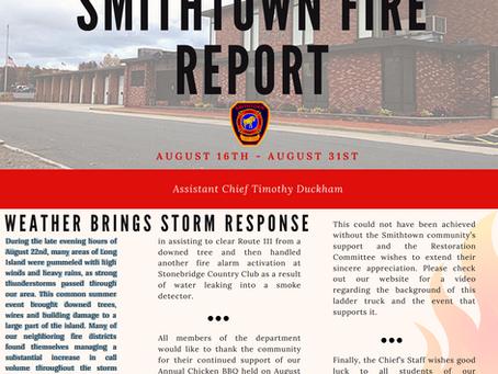 Smithtown Fire Report - August 16 - 31, 2019