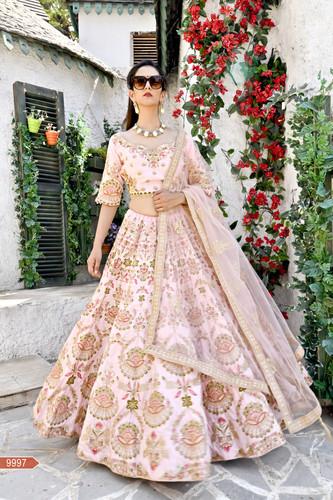 264cc24ba3 Flamingo Pink Chennai Silk embroidery Work Bridal Wedding Lehenga Choli