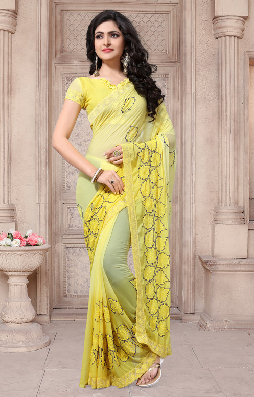 5ffef82678 Name. : Designer Yellow Georgette Printed Saree