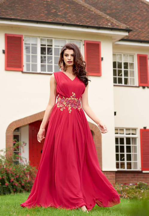 New Stylist Designer Pink Georgette Party Wear Gown | Latest ...