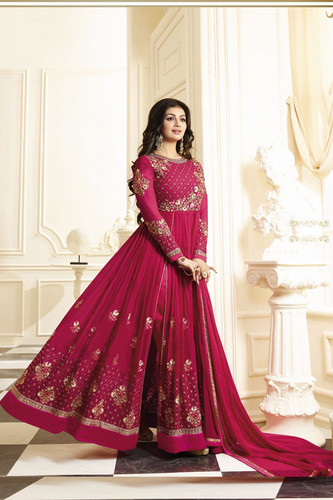 ee630d547a Ayesha Takia Designer Georgette Pink Embroidered Semi Stitched Long Anarkali  Sui
