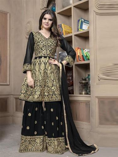 813b6ec325f Latest Designer Black Color Faux Georgette Party Wear Anarkali Suit