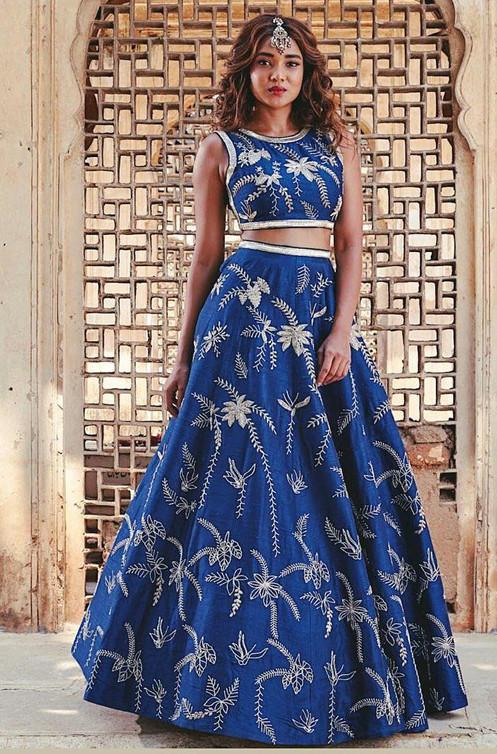 d5724a61a0 Designer Blue Ruby silk lehenga choli