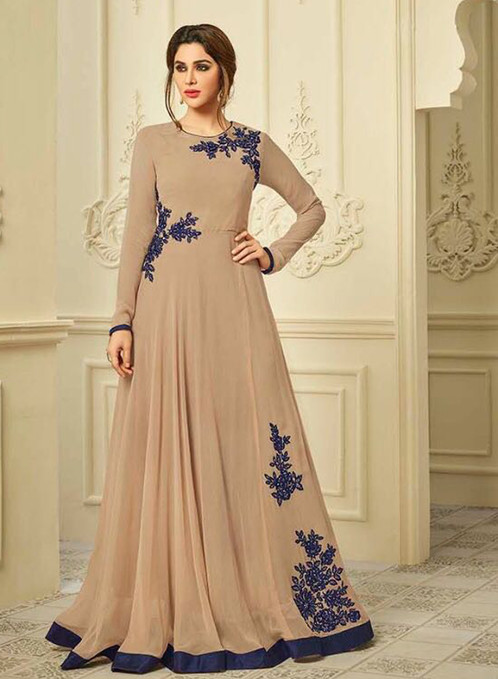 Latest Designer Stylish Beige Color Look Wedding Wear Gowns Collection