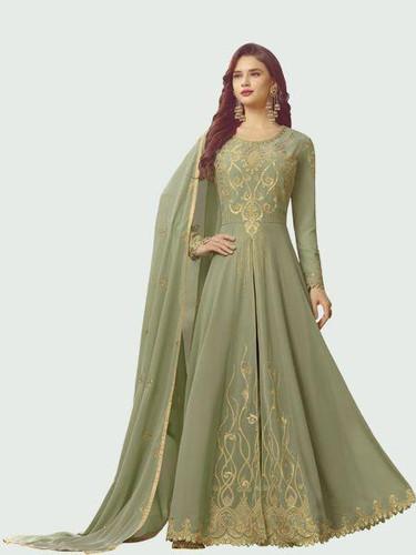 911416e89 Designer Green Color Faux Georgette With Emb work Anarkali Salwar Suit