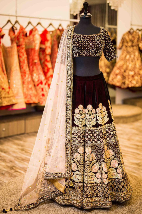 e7201a1208 Amazing Maroon Color Tapeta Velvet Silk Wedding Lehenga Choli