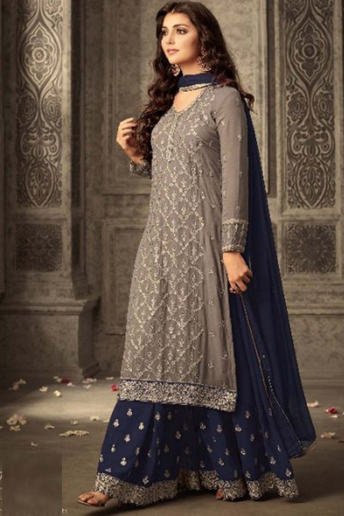 74f3d73b20 Name :Brown&Blue Heavy Georgette Embroidery Work With Designer Sharara Suit  SKU :ER10846 Top Fabric :Faux Georgette With Inner Top Colour :Brown