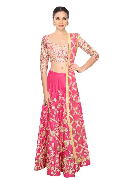 designer bollywood style pink art silk embroidery work