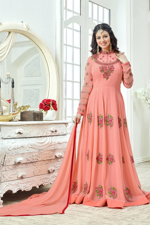 d300c8d9ea Ayesha Takia Designer Peach Color Georgette Salwar Suit