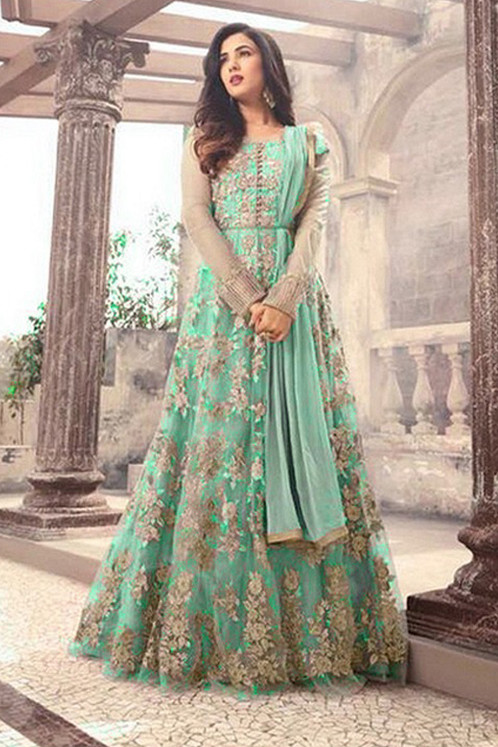 Designer Green Color Long Gown With Fany Work