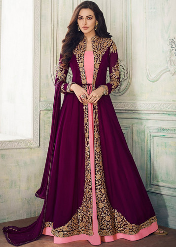 2e057269e2 Demanding Purple Color Party Wear Embroidered Georgette Anarkali Suit