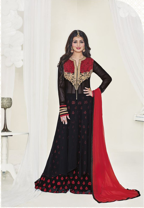 Designer Black Colour Georgette Semi Stitched Salwar Suit | Latest ...