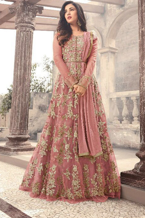 Designer Peach Color Long Gown With Fany Work