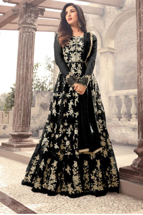 Designer Black Color Long Gown With Fany Work