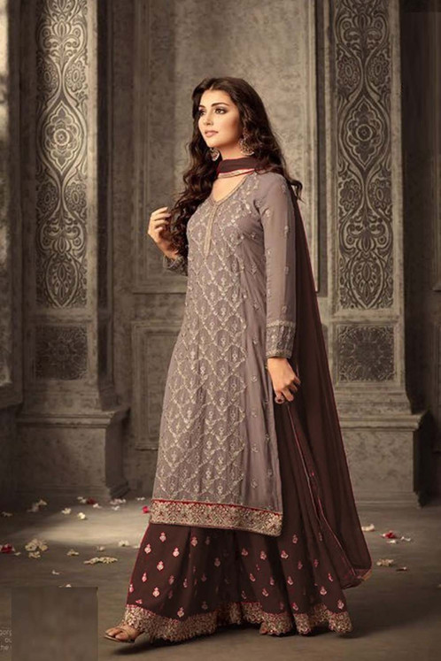 824e4a2f60 :Brown & Blue Heavy Georgette Embroidery Work With Designer Sharara Suit