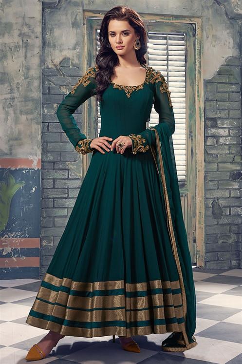 4de6c6468c1d Designer Latest Dark Green Georette Digital Print Semi Stitched Gown