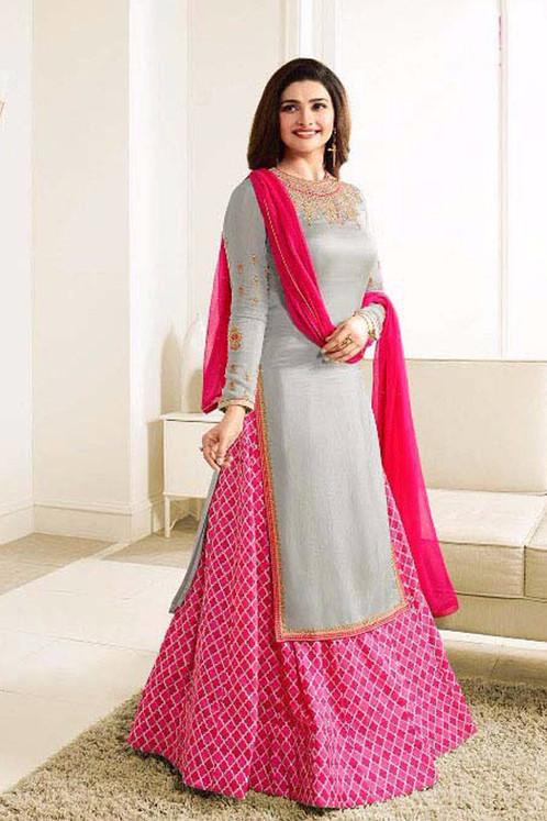 f4c5732694 Prachi Desai New Designer Gray nd Pink Lehenga Suit