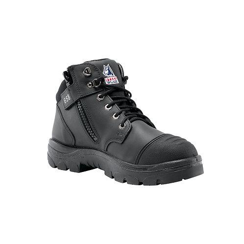 Steel Blue Mens Work Boots Parkes Zip Scuff S3 - BLACK
