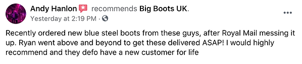 Review from a big boots customer