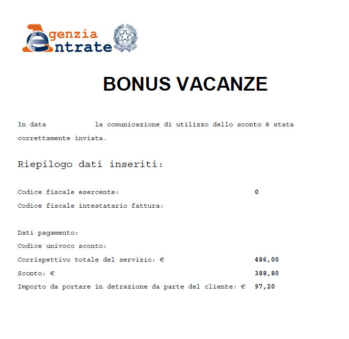 Ricevuta di coretto invio del Bonus Vacanze da parte della struttura turistica