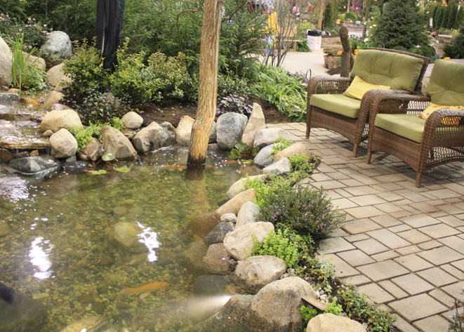 cool ponds outdoor living patio by pond