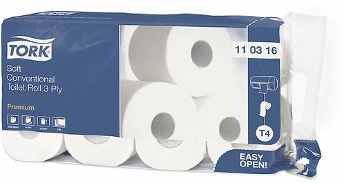 WC Papier Premium, 3-lagig, weiss, 100% Zellstoff, Paket à 16 Rollen TORK