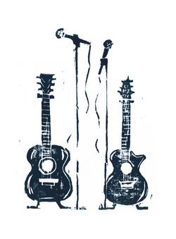 Guitar block print