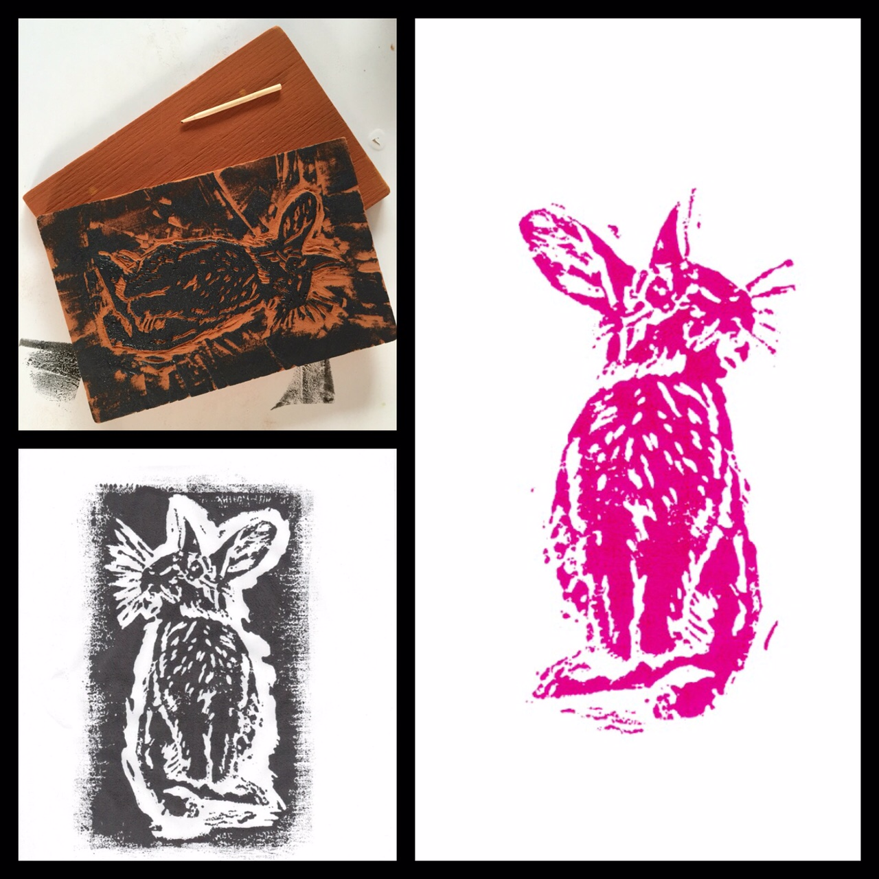 Bunny block print