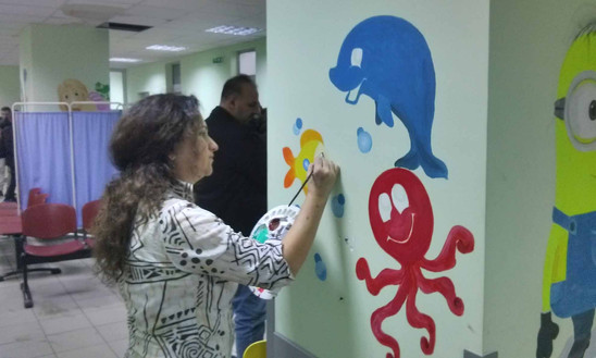 Painting murals at the Children's Hospital