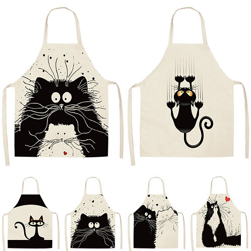 1Pcs Kitchen Apron Cute Cat Printed Cotton Linen Apron 53*65cm WQ0029