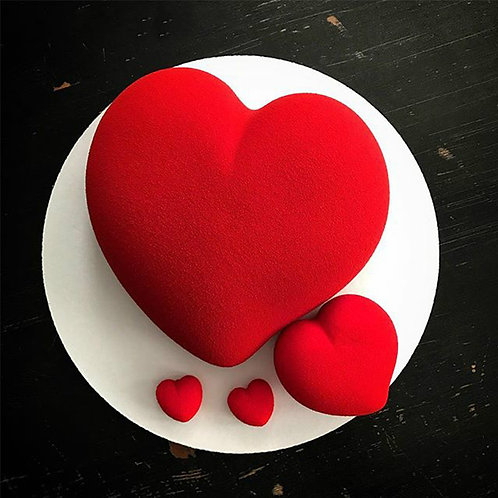 FUNBAKY 6 Cavity 3D Shape Heart Silicone Mold for Baking