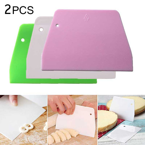 2PCS Multipurpose Kitchen Scrapers for Pizza Dough Pastry Cake