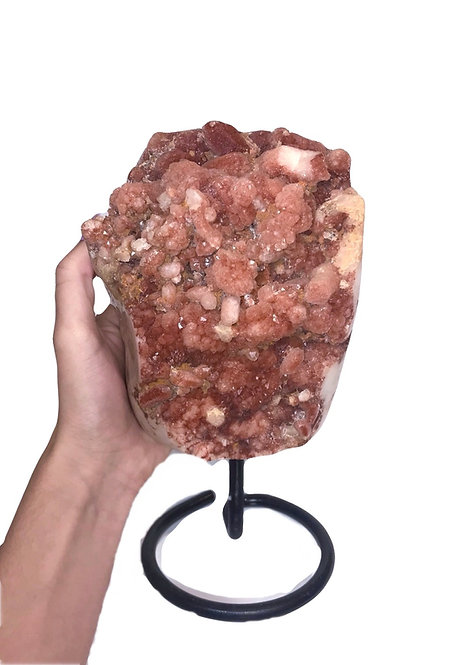 Red Hematoid  Quartz (Original Strawberry Quartz) cluster on a stand from Brazil