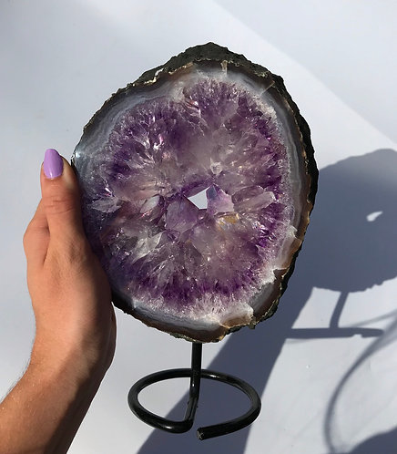 Amethyst Ring Slice on a stand from Brazil