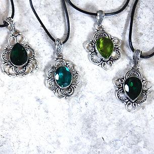 Green quartz sterling silver necklaces