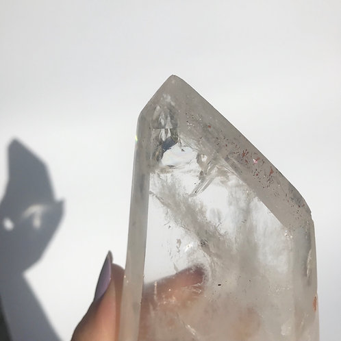 Clear Quartz Tower with some Lepidocrite