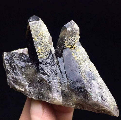 Black Quartz with Calcite Crystal Cluster